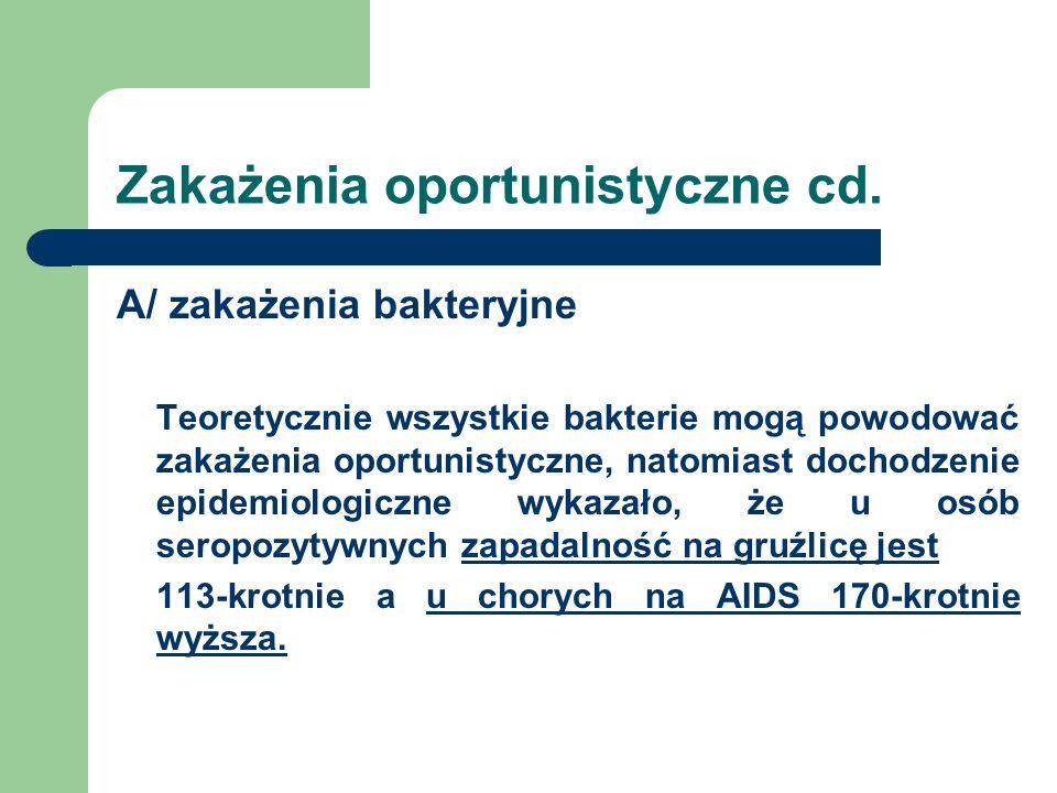 Zakażenia oportunistyczne cd. A/ zakażenia bakteryjne Teoretycznie wszystkie bakterie mogą powodować zakażenia oportunistyczne, natomiast dochodzenie
