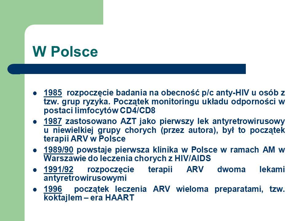 W Polsce 1985 rozpoczęcie badania na obecność p/c anty-HIV u osób z tzw. grup ryzyka. Początek monitoringu układu odporności w postaci limfocytów CD4/