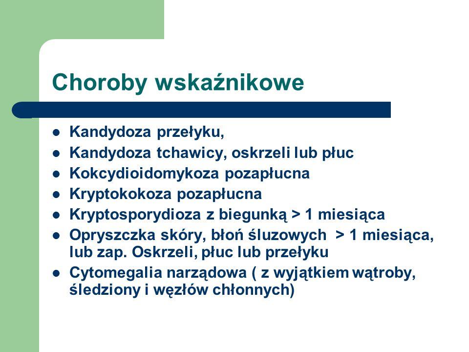 Choroby wskaźnikowe Kandydoza przełyku, Kandydoza tchawicy, oskrzeli lub płuc Kokcydioidomykoza pozapłucna Kryptokokoza pozapłucna Kryptosporydioza z