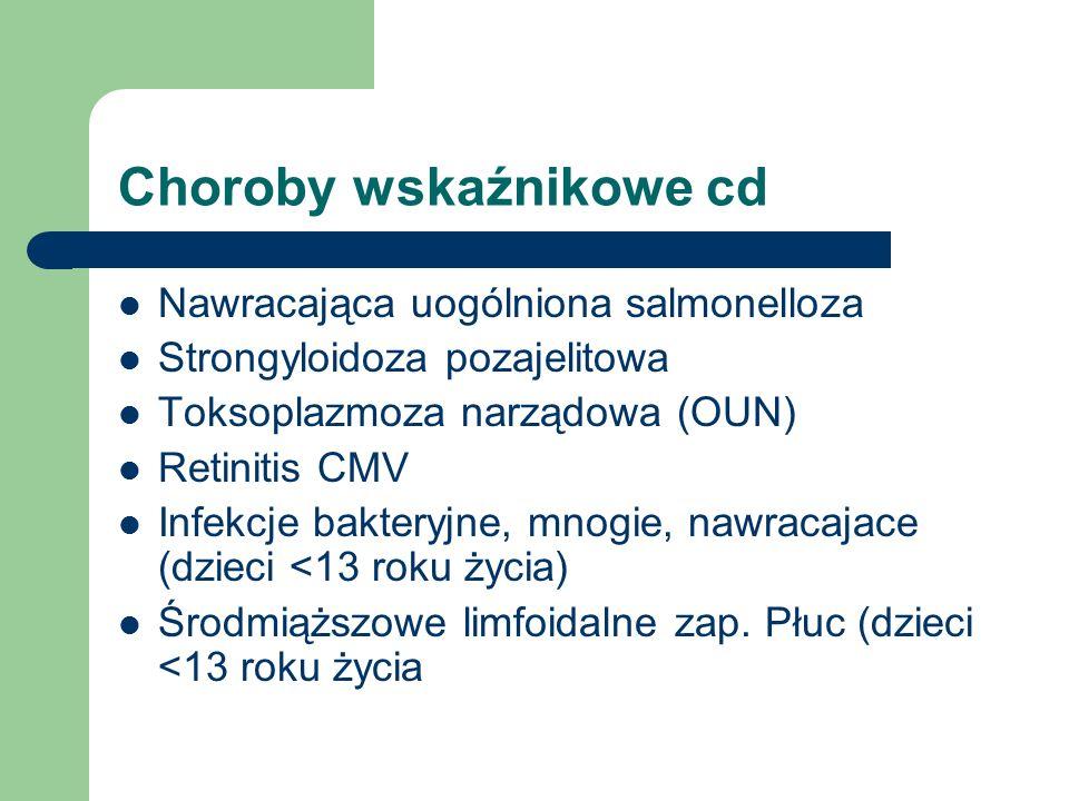 Choroby wskaźnikowe cd Nawracająca uogólniona salmonelloza Strongyloidoza pozajelitowa Toksoplazmoza narządowa (OUN) Retinitis CMV Infekcje bakteryjne