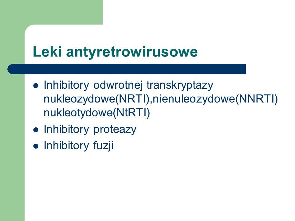 Leki antyretrowirusowe Inhibitory odwrotnej transkryptazy nukleozydowe(NRTI),nienuleozydowe(NNRTI) nukleotydowe(NtRTI) Inhibitory proteazy Inhibitory