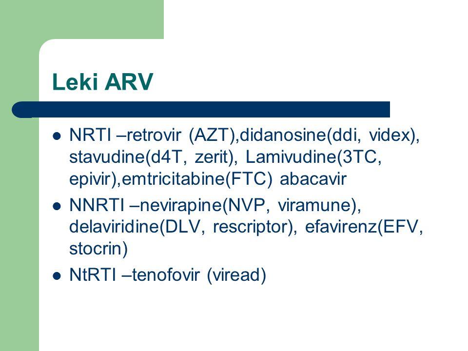 Leki ARV NRTI –retrovir (AZT),didanosine(ddi, videx), stavudine(d4T, zerit), Lamivudine(3TC, epivir),emtricitabine(FTC) abacavir NNRTI –nevirapine(NVP