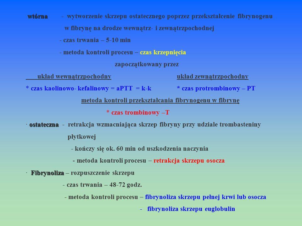 wtórna wtórna - wytworzenie skrzepu ostatecznego poprzez przekształcenie fibrynogenu w fibrynę na drodze wewnątrz- i zewnątrzpochodnej - czas trwania