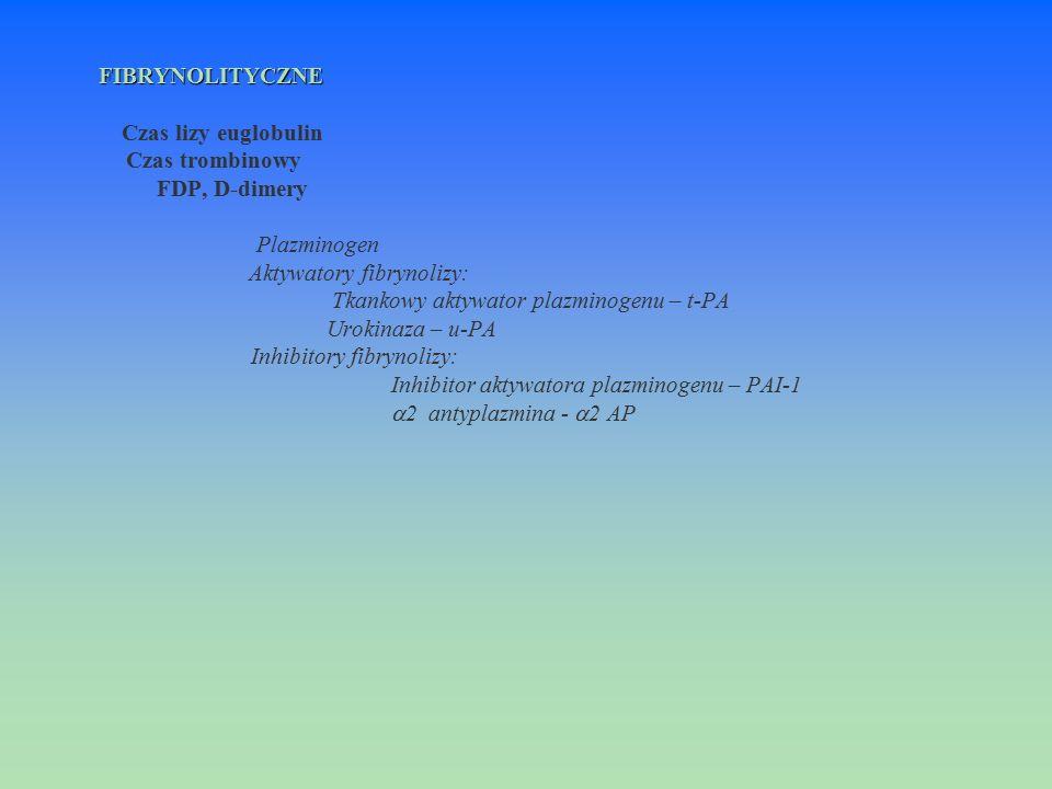 FIBRYNOLITYCZNE FIBRYNOLITYCZNE Czas lizy euglobulin Czas trombinowy FDP, D-dimery Plazminogen Aktywatory fibrynolizy: Tkankowy aktywator plazminogenu