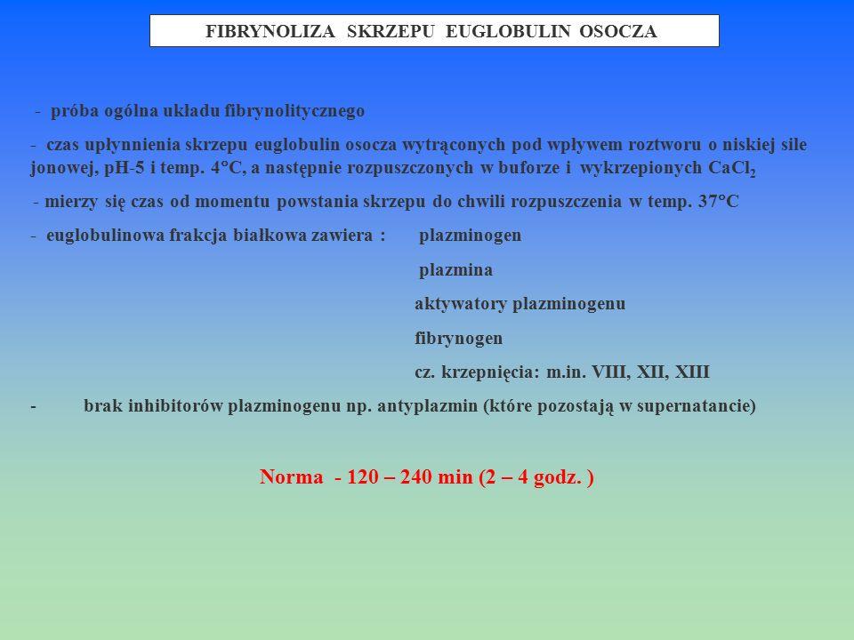 - próba ogólna układu fibrynolitycznego - czas upłynnienia skrzepu euglobulin osocza wytrąconych pod wpływem roztworu o niskiej sile jonowej, pH-5 i t