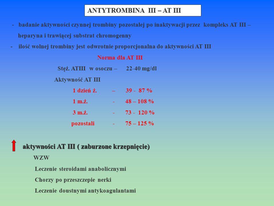 - badanie aktywności czynnej trombiny pozostałej po inaktywacji przez kompleks AT III – heparyna i trawiącej substrat chromogenny - ilość wolnej tromb