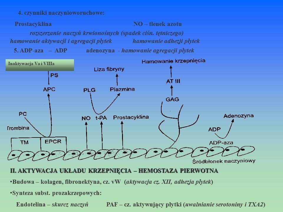 Inaktywacja Va i VIIIa rozszerzanie naczyń krwionośnych (spadek ciśn. tętniczego) hamowanie aktywacji i agregacji płytek hamowanie adhezji płytek 5. A
