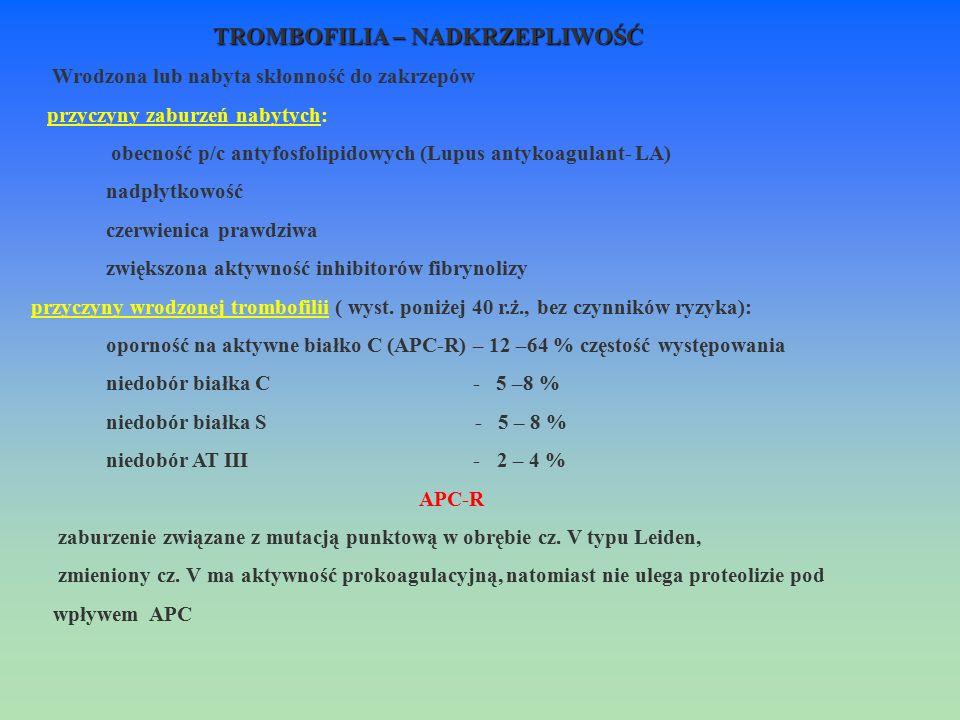 TROMBOFILIA – NADKRZEPLIWOŚĆ Wrodzona lub nabyta skłonność do zakrzepów przyczyny zaburzeń nabytych: obecność p/c antyfosfolipidowych (Lupus antykoagu