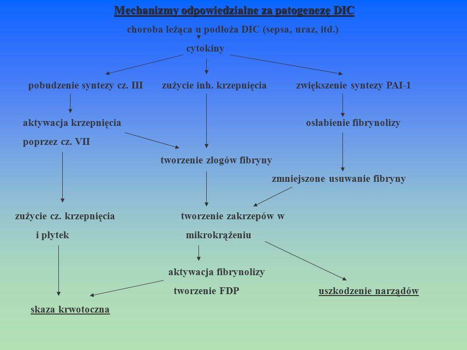 Mechanizmy odpowiedzialne za patogenezę DIC choroba leżąca u podłoża DIC (sepsa, uraz, itd.) cytokiny pobudzenie syntezy cz. III zużycie inh. krzepnię