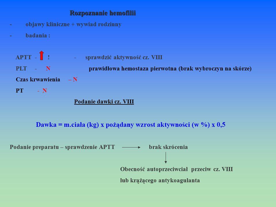 Rozpoznanie hemofilii - objawy kliniczne + wywiad rodzinny - badania : APTT - ! - sprawdzić aktywność cz. VIII PLT - N prawidłowa hemostaza pierwotna