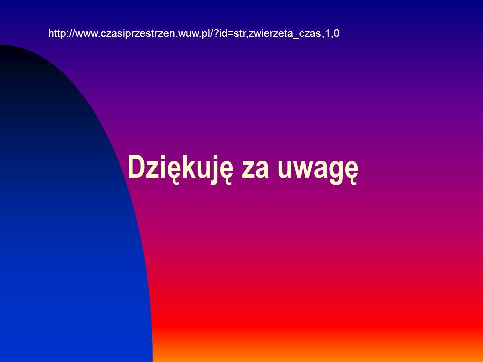 Dziękuję za uwagę http://www.czasiprzestrzen.wuw.pl/?id=str,zwierzeta_czas,1,0