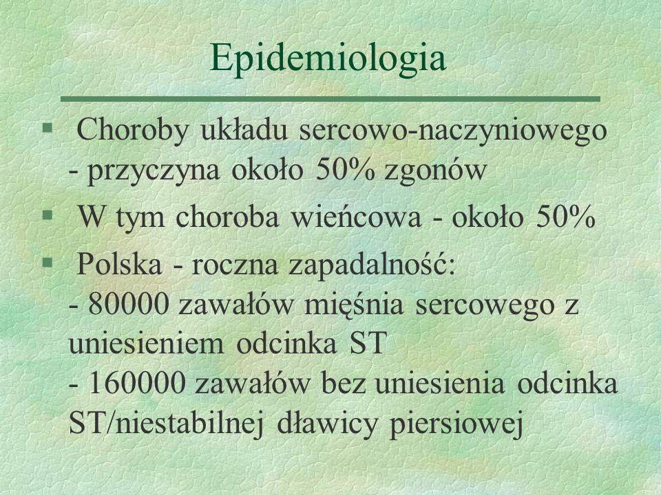 Epidemiologia § Choroby układu sercowo-naczyniowego - przyczyna około 50% zgonów § W tym choroba wieńcowa - około 50% § Polska - roczna zapadalność: -