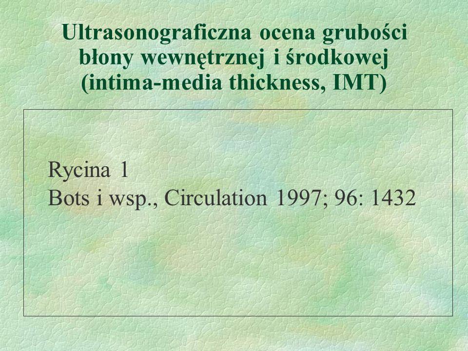 Ultrasonograficzna ocena grubości błony wewnętrznej i środkowej (intima-media thickness, IMT) Rycina 1 Bots i wsp., Circulation 1997; 96: 1432