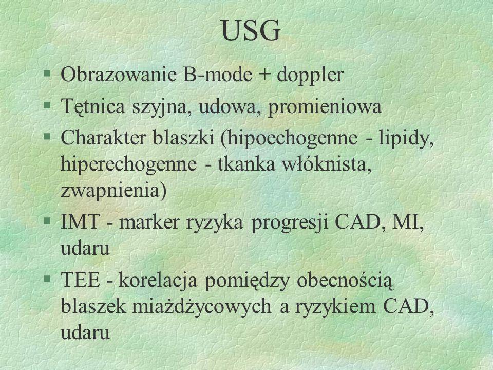 USG §Obrazowanie B-mode + doppler §Tętnica szyjna, udowa, promieniowa §Charakter blaszki (hipoechogenne - lipidy, hiperechogenne - tkanka włóknista, z