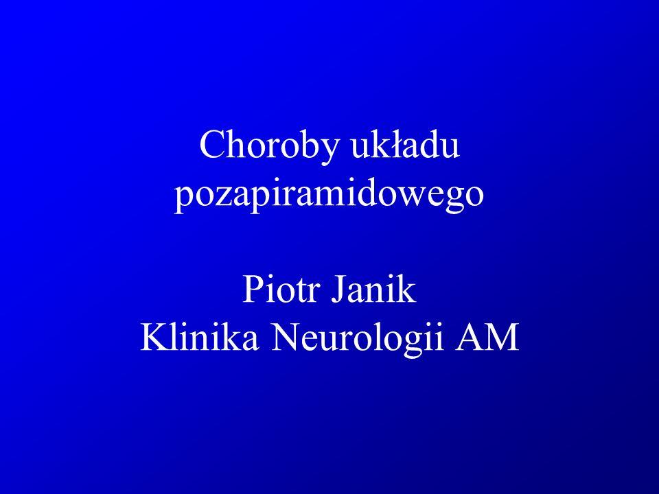 Klasyfikacja dystonii Etiologia -dystonia pierwotna - dystonia objawowa -dystonia w przebiegu chorób zwyrodnieniowych mózgu