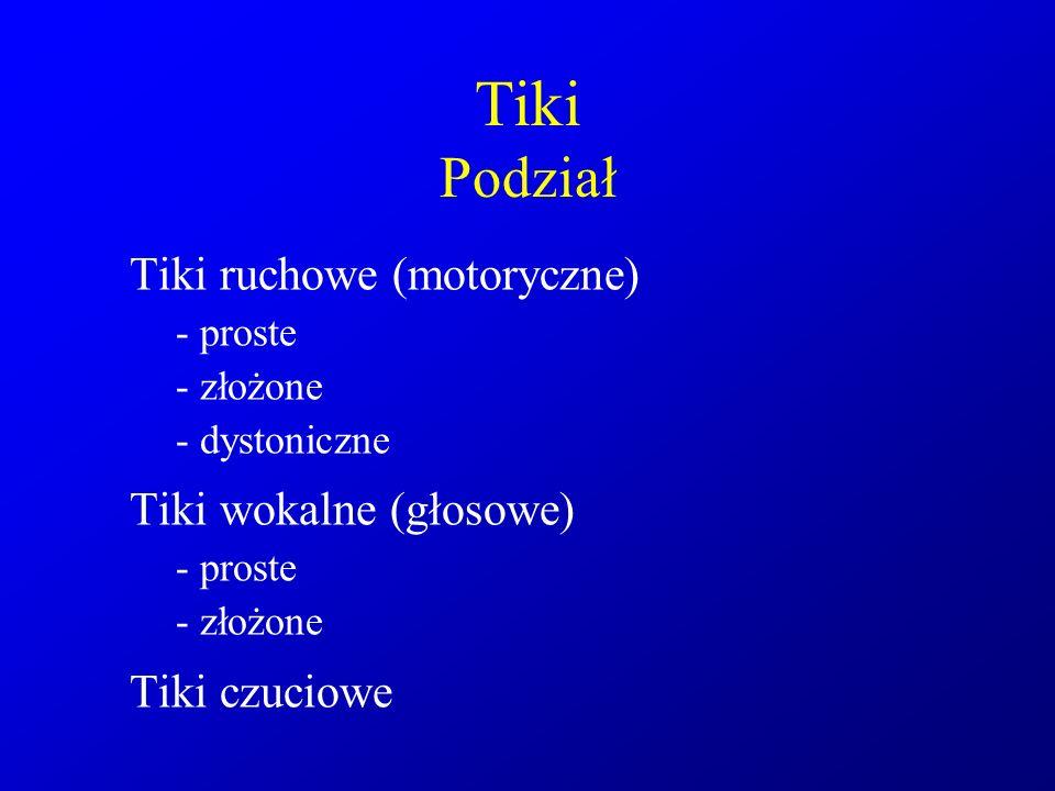 Tiki Podział Tiki ruchowe (motoryczne) - proste - złożone - dystoniczne Tiki wokalne (głosowe) - proste - złożone Tiki czuciowe
