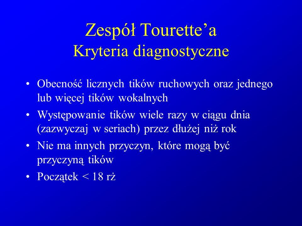 Zespół Tourette'a Kryteria diagnostyczne Obecność licznych tików ruchowych oraz jednego lub więcej tików wokalnych Występowanie tików wiele razy w cią
