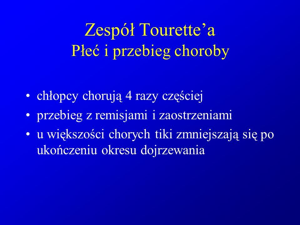 Zespół Tourette'a Płeć i przebieg choroby chłopcy chorują 4 razy częściej przebieg z remisjami i zaostrzeniami u większości chorych tiki zmniejszają s