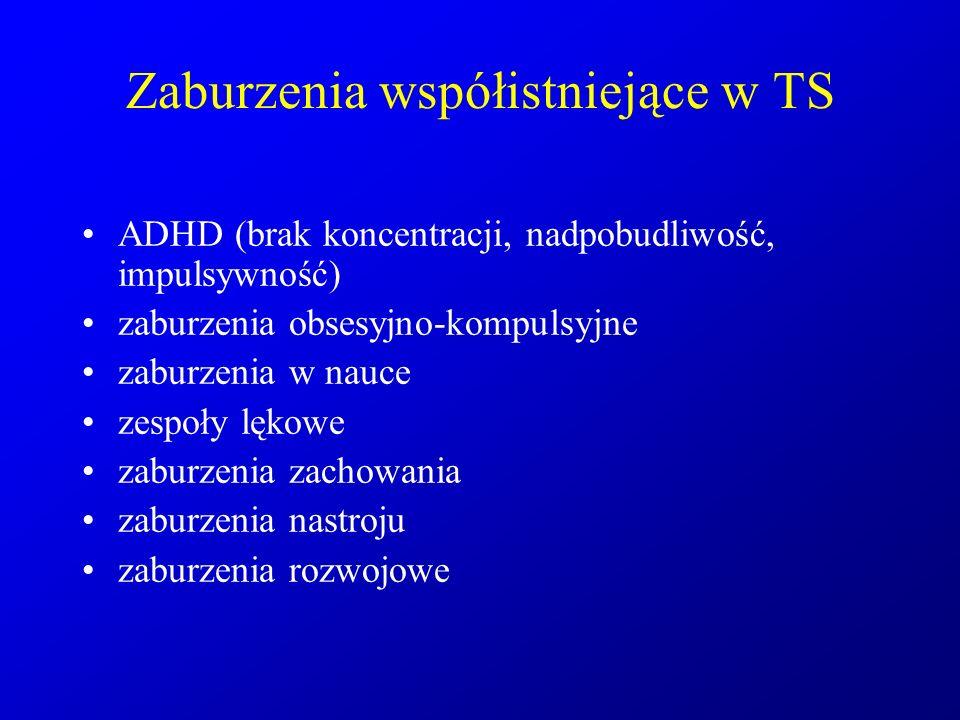 Zaburzenia współistniejące w TS ADHD (brak koncentracji, nadpobudliwość, impulsywność) zaburzenia obsesyjno-kompulsyjne zaburzenia w nauce zespoły lęk