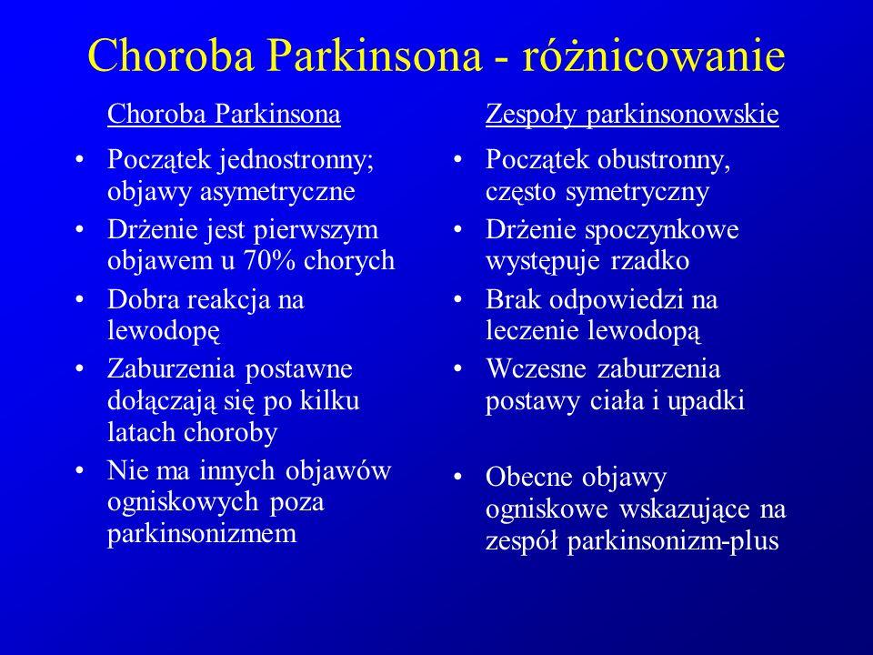 Choroba Parkinsona - różnicowanie Choroba Parkinsona Początek jednostronny; objawy asymetryczne Drżenie jest pierwszym objawem u 70% chorych Dobra rea