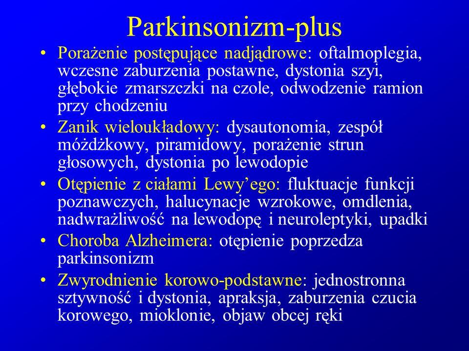 Parkinsonizm-plus Porażenie postępujące nadjądrowe: oftalmoplegia, wczesne zaburzenia postawne, dystonia szyi, głębokie zmarszczki na czole, odwodzeni