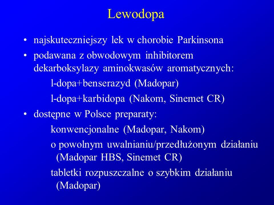 Lewodopa najskuteczniejszy lek w chorobie Parkinsona podawana z obwodowym inhibitorem dekarboksylazy aminokwasów aromatycznych: l-dopa+benserazyd (Mad