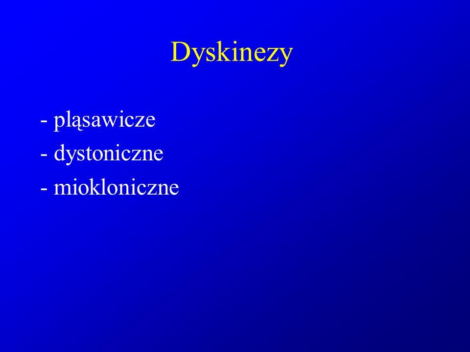 Dyskinezy - pląsawicze - dystoniczne - miokloniczne