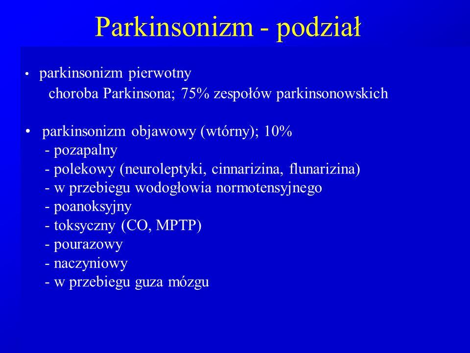 Parkinsonizm - podział parkinsonizm pierwotny choroba Parkinsona; 75% zespołów parkinsonowskich parkinsonizm objawowy (wtórny); 10% - pozapalny - pole