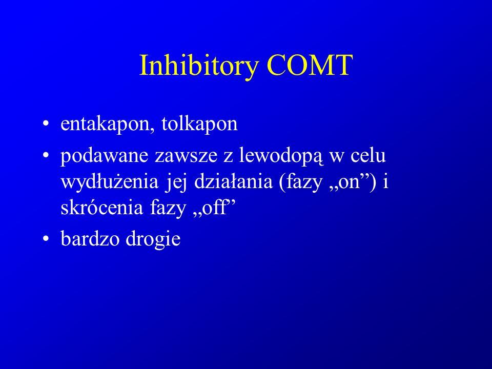 """Inhibitory COMT entakapon, tolkapon podawane zawsze z lewodopą w celu wydłużenia jej działania (fazy """"on"""") i skrócenia fazy """"off"""" bardzo drogie"""