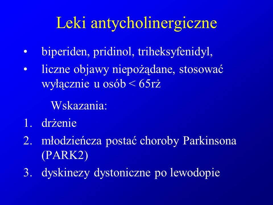 Leki antycholinergiczne biperiden, pridinol, triheksyfenidyl, liczne objawy niepożądane, stosować wyłącznie u osób < 65rż Wskazania: 1.drżenie 2.młodz