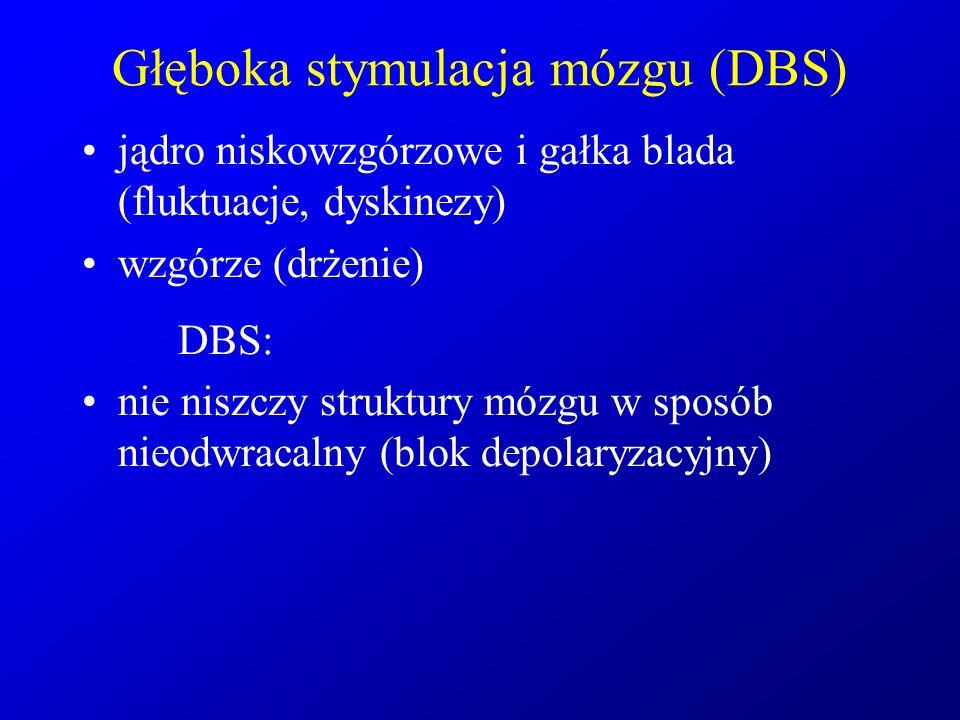 Głęboka stymulacja mózgu (DBS) jądro niskowzgórzowe i gałka blada (fluktuacje, dyskinezy) wzgórze (drżenie) DBS: nie niszczy struktury mózgu w sposób