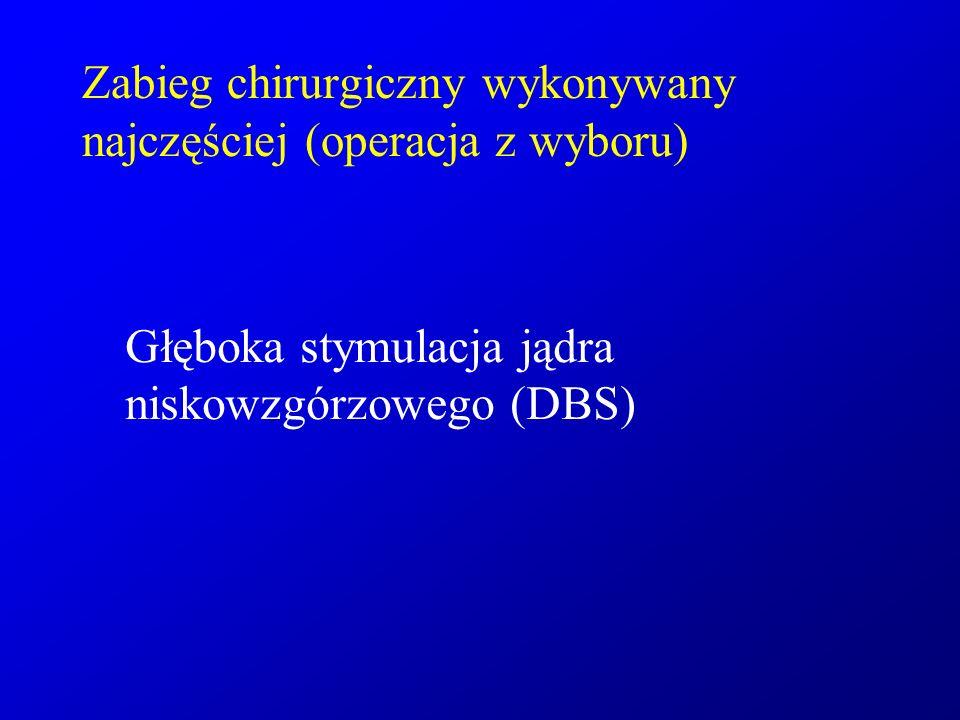 Zabieg chirurgiczny wykonywany najczęściej (operacja z wyboru) Głęboka stymulacja jądra niskowzgórzowego (DBS)