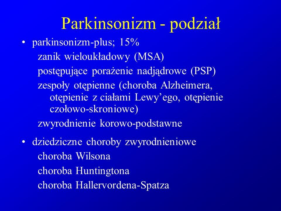 Parkinsonizm - podział parkinsonizm-plus; 15% zanik wieloukładowy (MSA) postępujące porażenie nadjądrowe (PSP) zespoły otępienne (choroba Alzheimera,