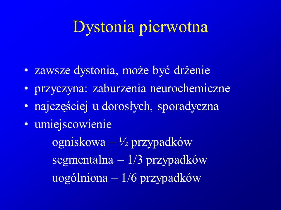 Dystonia pierwotna zawsze dystonia, może być drżenie przyczyna: zaburzenia neurochemiczne najczęściej u dorosłych, sporadyczna umiejscowienie ogniskow