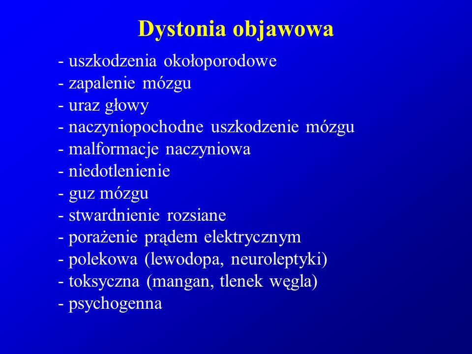 Dystonia objawowa - uszkodzenia okołoporodowe - zapalenie mózgu - uraz głowy - naczyniopochodne uszkodzenie mózgu - malformacje naczyniowa - niedotlen