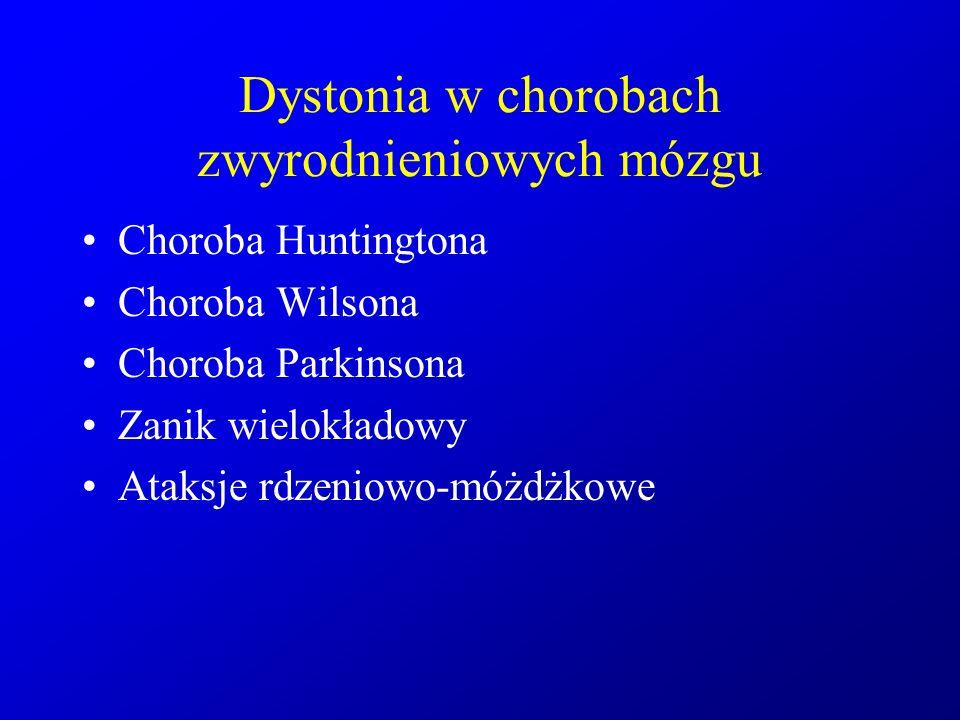 Dystonia w chorobach zwyrodnieniowych mózgu Choroba Huntingtona Choroba Wilsona Choroba Parkinsona Zanik wielokładowy Ataksje rdzeniowo-móżdżkowe