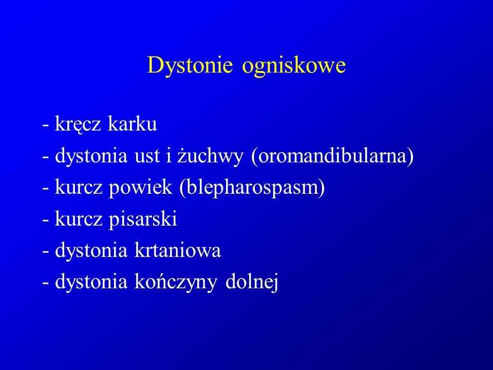 Dystonie ogniskowe - kręcz karku - dystonia ust i żuchwy (oromandibularna) - kurcz powiek (blepharospasm) - kurcz pisarski - dystonia krtaniowa - dyst