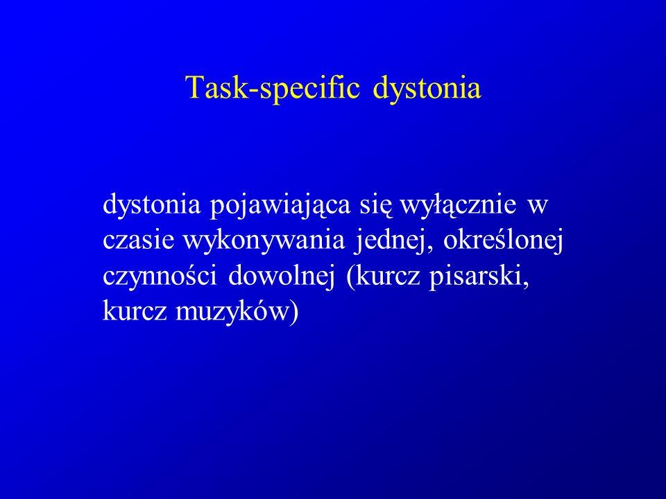 Task-specific dystonia dystonia pojawiająca się wyłącznie w czasie wykonywania jednej, określonej czynności dowolnej (kurcz pisarski, kurcz muzyków)