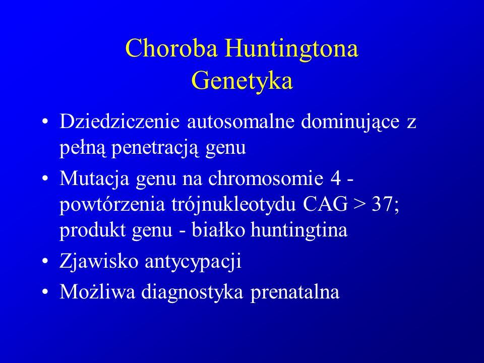 Choroba Huntingtona Genetyka Dziedziczenie autosomalne dominujące z pełną penetracją genu Mutacja genu na chromosomie 4 - powtórzenia trójnukleotydu C