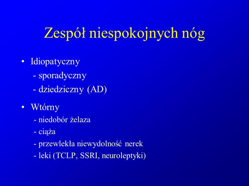 Zespół niespokojnych nóg Idiopatyczny - sporadyczny - dziedziczny (AD) Wtórny - niedobór żelaza - ciąża - przewlekła niewydolność nerek - leki (TCLP,