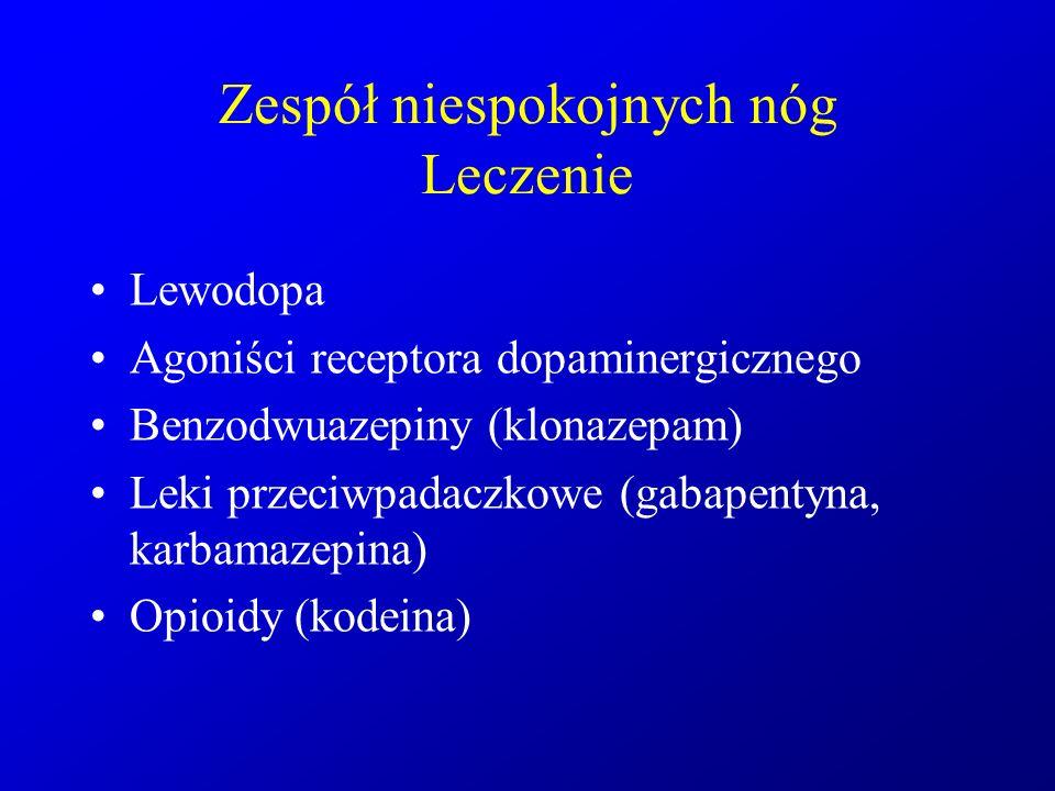 Zespół niespokojnych nóg Leczenie Lewodopa Agoniści receptora dopaminergicznego Benzodwuazepiny (klonazepam) Leki przeciwpadaczkowe (gabapentyna, karb