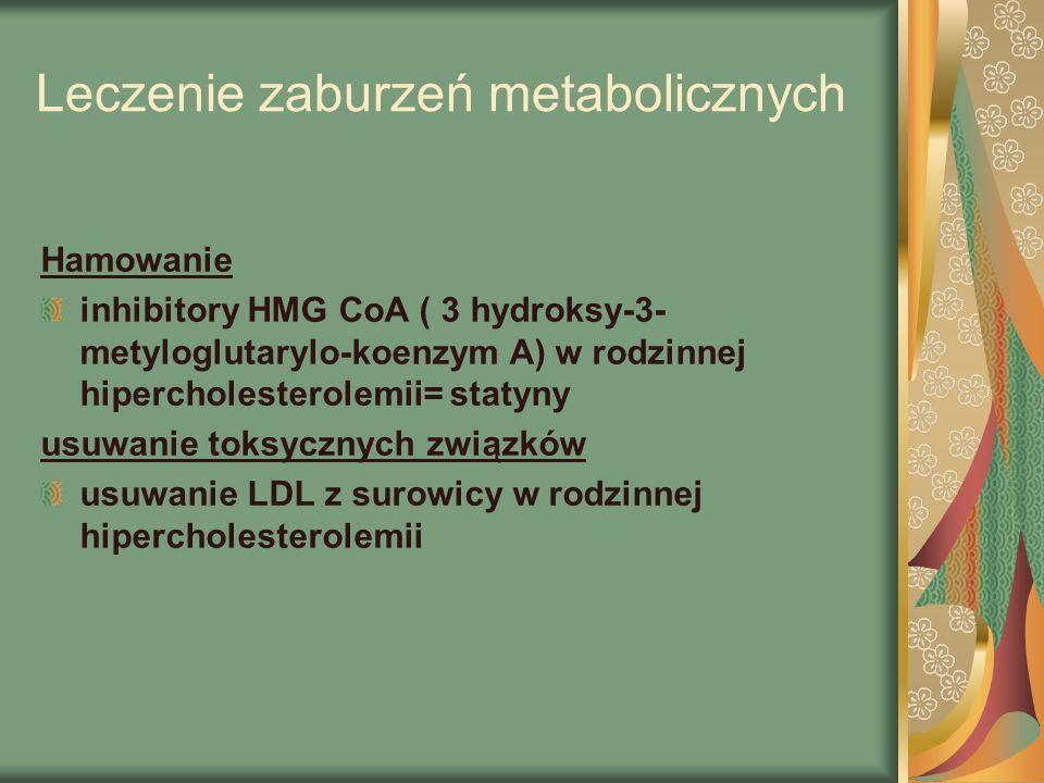 Leczenie zaburzeń metabolicznych Hamowanie inhibitory HMG CoA ( 3 hydroksy-3- metyloglutarylo-koenzym A) w rodzinnej hipercholesterolemii= statyny usuwanie toksycznych związków usuwanie LDL z surowicy w rodzinnej hipercholesterolemii