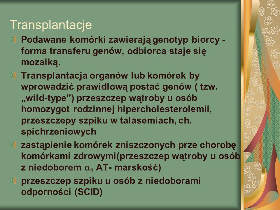 Transplantacje Podawane komórki zawierają genotyp biorcy - forma transferu genów, odbiorca staje się mozaiką.