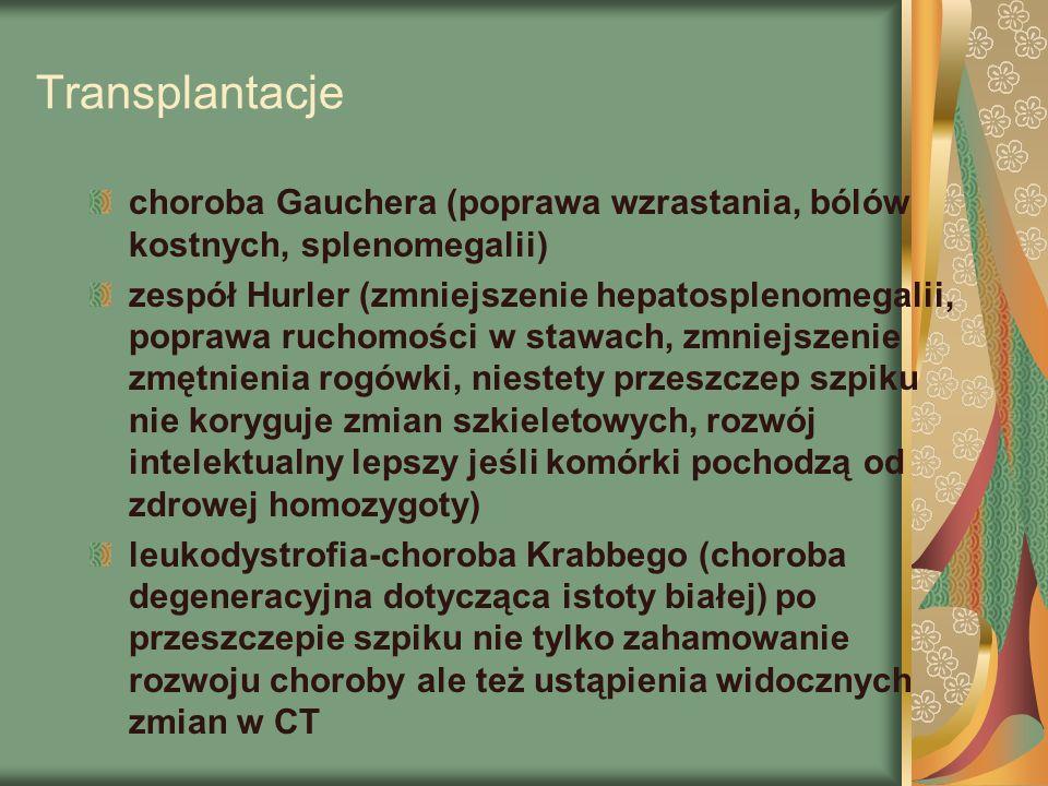 Transplantacje choroba Gauchera (poprawa wzrastania, bólów kostnych, splenomegalii) zespół Hurler (zmniejszenie hepatosplenomegalii, poprawa ruchomości w stawach, zmniejszenie zmętnienia rogówki, niestety przeszczep szpiku nie koryguje zmian szkieletowych, rozwój intelektualny lepszy jeśli komórki pochodzą od zdrowej homozygoty) leukodystrofia-choroba Krabbego (choroba degeneracyjna dotycząca istoty białej) po przeszczepie szpiku nie tylko zahamowanie rozwoju choroby ale też ustąpienia widocznych zmian w CT