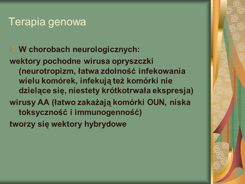 Terapia genowa W chorobach neurologicznych: wektory pochodne wirusa opryszczki (neurotropizm, łatwa zdolność infekowania wielu komórek, infekują też komórki nie dzielące się, niestety krótkotrwała ekspresja) wirusy AA (łatwo zakażają komórki OUN, niska toksyczność i immunogenność) tworzy się wektory hybrydowe