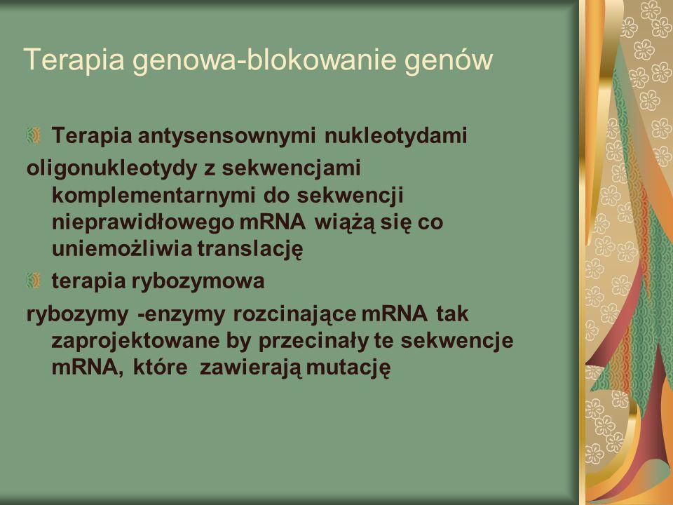 Terapia genowa-blokowanie genów Terapia antysensownymi nukleotydami oligonukleotydy z sekwencjami komplementarnymi do sekwencji nieprawidłowego mRNA wiążą się co uniemożliwia translację terapia rybozymowa rybozymy -enzymy rozcinające mRNA tak zaprojektowane by przecinały te sekwencje mRNA, które zawierają mutację