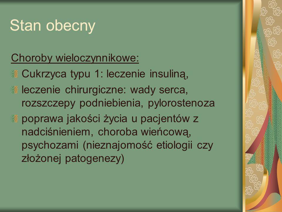 Stan obecny Choroby wieloczynnikowe: Cukrzyca typu 1: leczenie insuliną, leczenie chirurgiczne: wady serca, rozszczepy podniebienia, pylorostenoza poprawa jakości życia u pacjentów z nadciśnieniem, choroba wieńcową, psychozami (nieznajomość etiologii czy złożonej patogenezy)