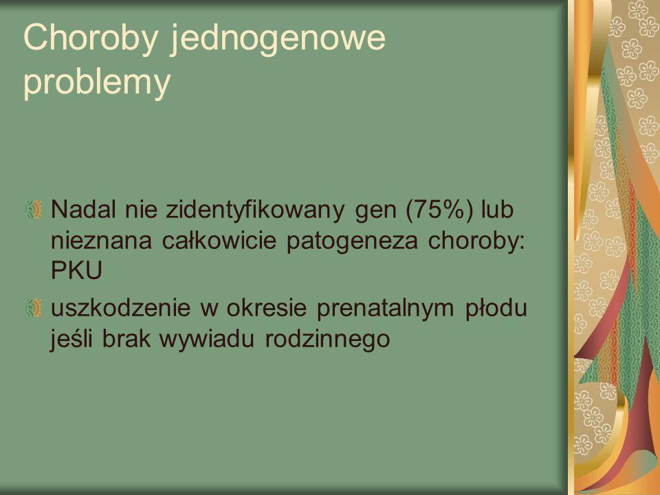 Choroby jednogenowe problemy Nadal nie zidentyfikowany gen (75%) lub nieznana całkowicie patogeneza choroby: PKU uszkodzenie w okresie prenatalnym płodu jeśli brak wywiadu rodzinnego