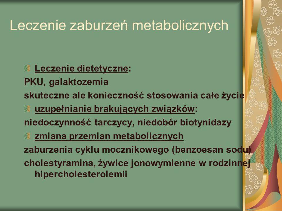 Leczenie zaburzeń metabolicznych Leczenie dietetyczne: PKU, galaktozemia skuteczne ale konieczność stosowania całe życie uzupełnianie brakujących związków: niedoczynność tarczycy, niedobór biotynidazy zmiana przemian metabolicznych zaburzenia cyklu mocznikowego (benzoesan sodu) cholestyramina, żywice jonowymienne w rodzinnej hipercholesterolemii