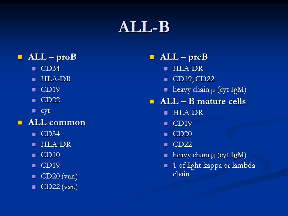 ALL-B ALL – proB ALL – proB CD34 CD34 HLA-DR HLA-DR CD19 CD19 CD22 CD22 cyt cyt ALL common ALL common CD34 CD34 HLA-DR HLA-DR CD10 CD10 CD19 CD19 CD20 (var.) CD20 (var.) CD22 (var.) CD22 (var.) ALL – preB HLA-DR CD19, CD22 heavy chain µ (cyt IgM) ALL – B mature cells HLA-DR CD19 CD20 CD22 heavy chain µ (cyt IgM) 1 of light kappa or lambda chain